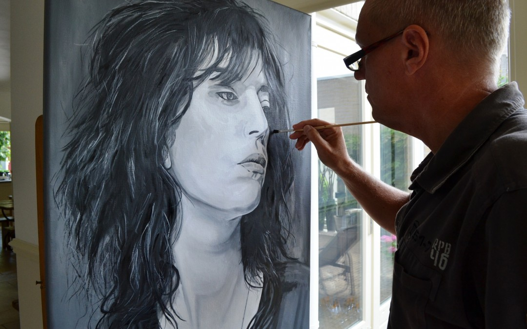 Working on a new painting; Patti Smith