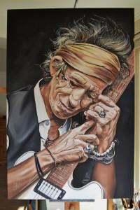 Keith Richards schilderij klaar