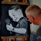 Boy singer painting