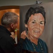 memorial woman painting in progress