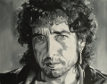 Bob Dylan portrait painting black white