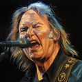 Neil Young portrait painting